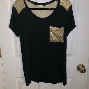 Black and gold sequin T-shirt